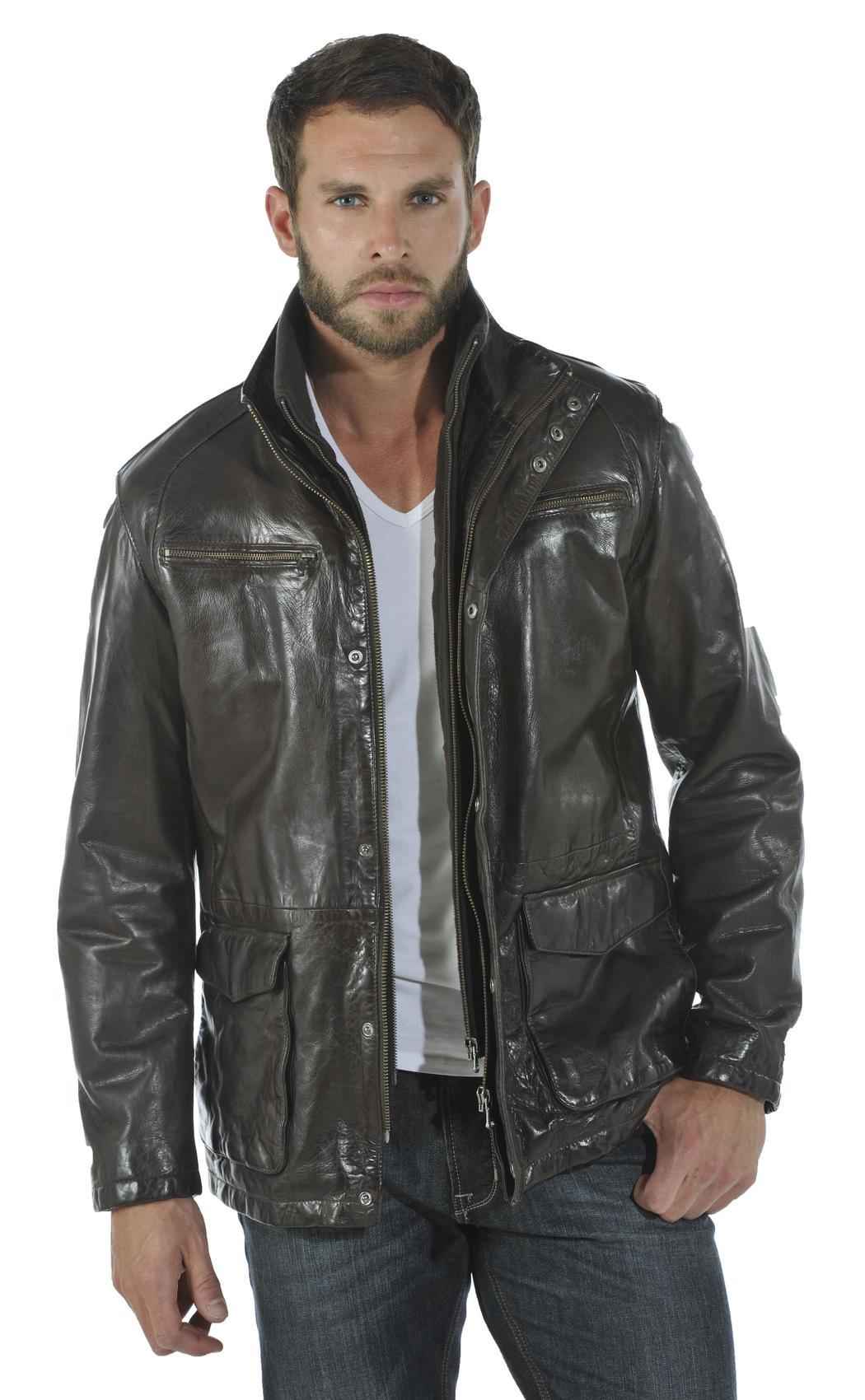 Vetement cuir homme manteau cuir homme veste cuir schott redskins - Laver une veste en cuir ...